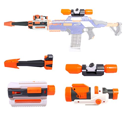 LoKauf Modificacion Kit: Linterna + Scope + Decoración Tubo Frontal para Nerf Stryfe / Nerf Rapidstrike / Nerf Modulus