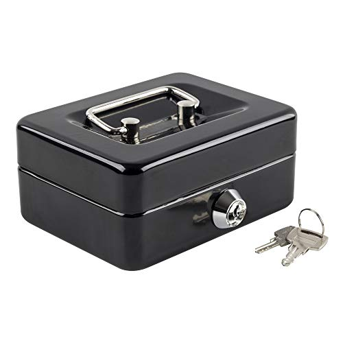 """Kyodoled Mini Small Cash Box with Money Tray,Lock Box with Key,Small Safe for Kids 4.9""""x 3.7""""x 2.3"""" Black"""