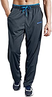 ZENGVEE Men's Sweatpant with Zipper Pockets Open Bottom Athletic Pants for Jogging, Workout, Gym, Running, Training