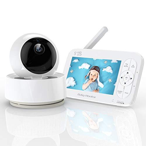 YUNDOO Babyphone mit Kamera, 5 Zoll HD LCD Bildschirm Babyphone 720P 360 ° Weitwinkel, 300M Reichweite, Nachtsicht, Fütterungsalarm, Energiesparmodus,Temperatursensor, Sprachanrufe, Ein-Klick-Zoom