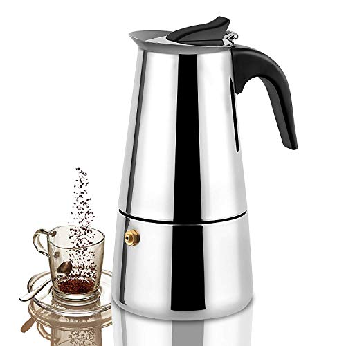Lowest Prices! Stovetop Espresso Maker, Stainless Steel Moka Pot, Coffee Maker, 300ml/10oz/ cup (esp...