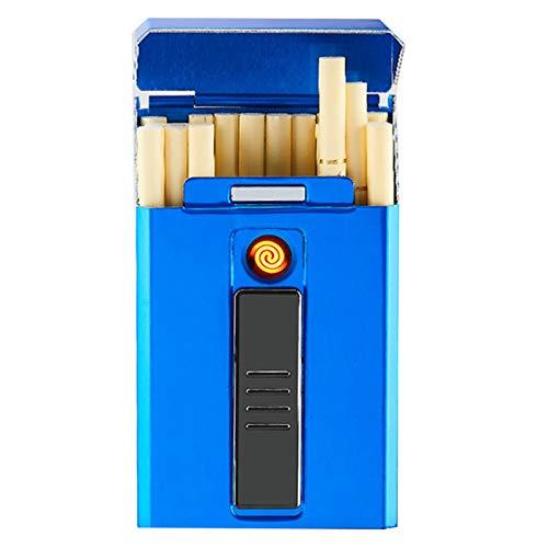 BNMY Zigarettenetui Mit Feuerzeug, Zigarettenbox, Für 20 Stück Normale Zigaretten, Tragbar, King-Size-Zigaretten, USB-Feuerzeug, Wiederaufladbar, Flammenlos, Winddicht, Elektrisches Feuerzeug,Blau