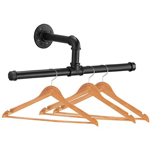 Elibbren Industrial Pipe Floating Clothing Rack Wall Mounted, Commercial or Residential Wardrobe Clothes Display, Heavy Duty Rustic Vintage Steel Black Metal Garment Bracket Frame, 1 Pack