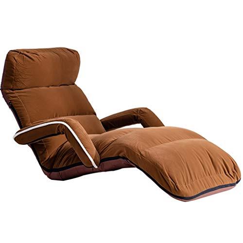 YUESFZ Sessel&Sitzsäcke Verstellbarer Fauler Sessel Mit Armlehnen Modernem Flockstoff, Bequemer Bodenhocker Taillenentspannung (Color : Coffee, Size : 80 * 180 cm)