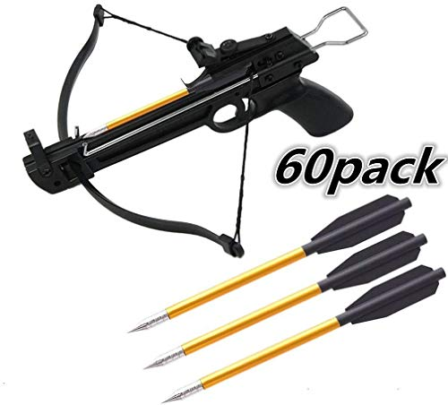 Ballesta pernos, pernos de aluminio ballesta Flechas 6.3' Consejos para la búsqueda Acero flechas, para 50-80lbs mini ballesta de tiro con arco pistola ballesta flechas,(No Contiene Ballesta)60pack