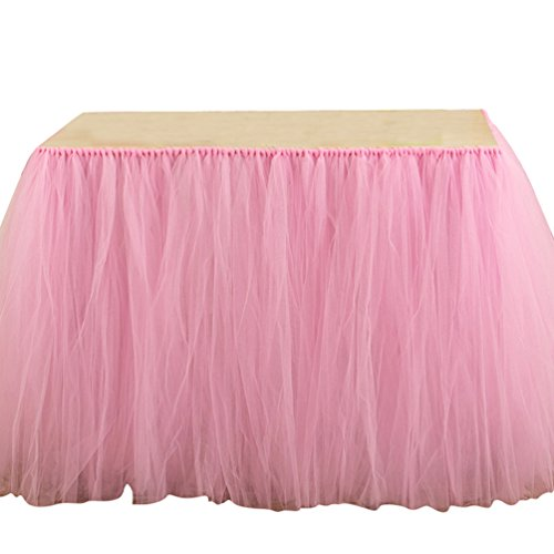 Ketamyy Tul Romance Tutu Falda De Mesa De Tul para Mesa De Boda Decoración De Cumpleaños De Princesa, Improvisación De Boda Navidad Día De San Valentín Baby Shower Rosa 100cm*80cm