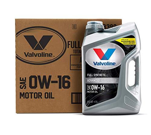 Valvoline Advanced Full Synthetic SAE 0W-16 Motor Oil 5 QT, Case of 3