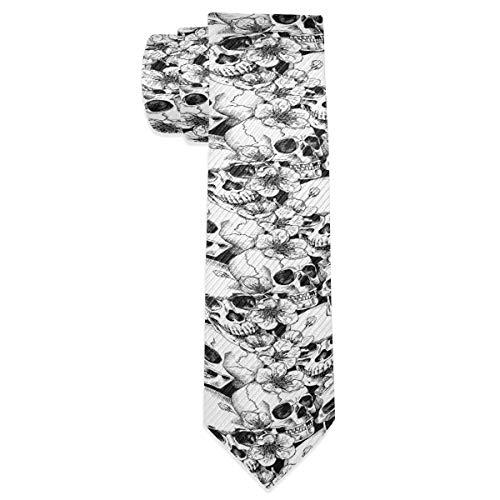 Cravate gothique en soie pour homme Motif tête de mort 7,4 x 147,3 cm 2030006