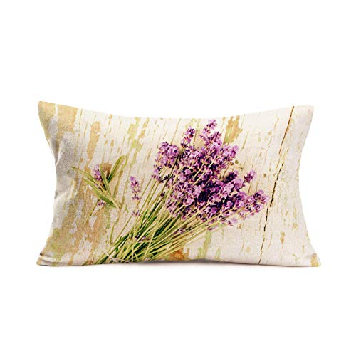 Easternproject Throw Pillow Covers Vintage Wood Purple Lavender Flower Pillow Cases Cotton Linen Garden Backyard Country Decorative Pillow Cover with Fresh Blossom Pillowcase 12x20 Inch