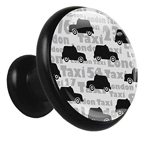 Pomo para muebles infantiles Taxi coche negro Pequeño mango exquisito para niños utilizado para decorar la habitación de los niños guardarropa cajón zapatero baño 4 piezas 3.2×3.0cm