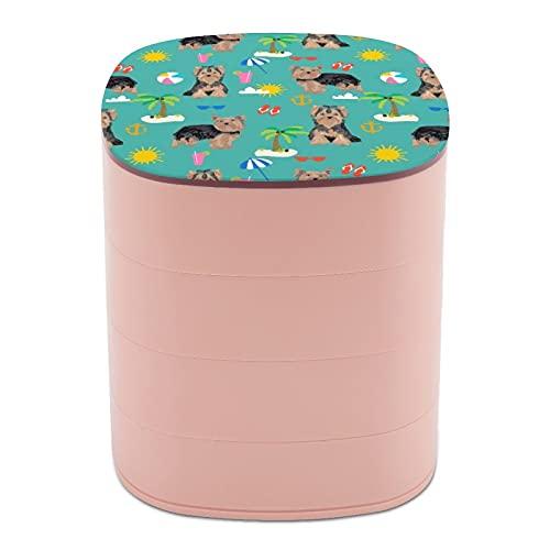 Joyero organizador redondo de 4 capas, giratorio de 360 grados, para anillos, pendientes, collares, pulseras, cuerdas, regalo para niña, madre, Yorkshire Terrier Summer Beach