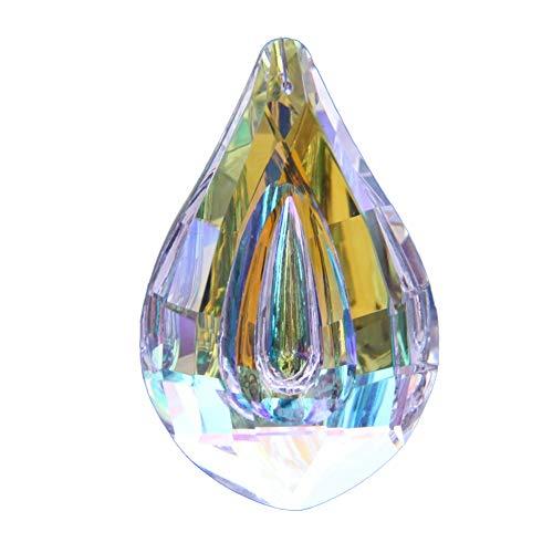 Atrapasueños de cristal colorido para jardín con forma de lágrima, colgante de prismas decorativos, accesorios de joyería de 3,8 cm