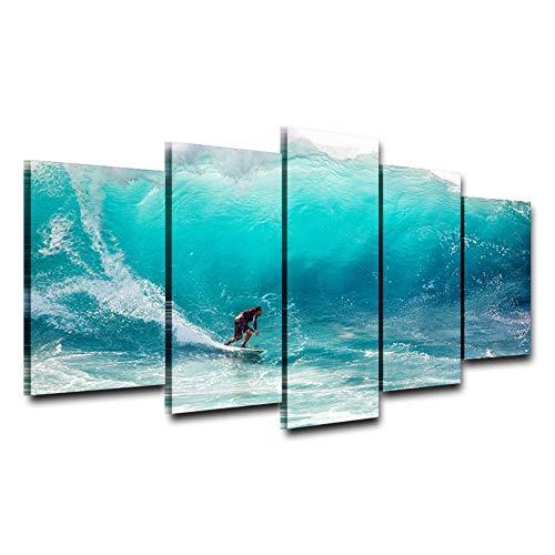 Suhang Muurkunst Poster Moderne wooncultuur woonkamer slaapkamer 5 stuks Surfer Golven Seaview Canvas Print Schilderen Modulaire fotolijst 10x15 10x20 10x25cm Frame