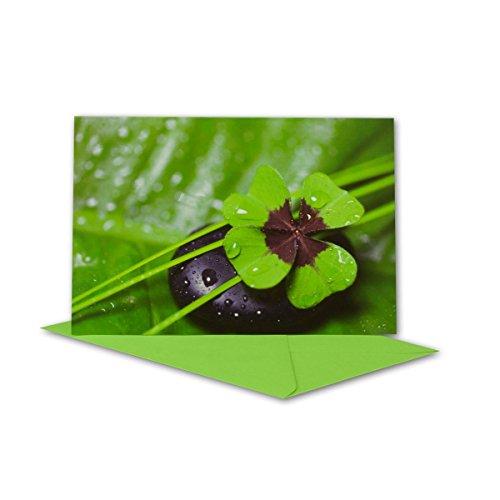 Lot de cartes de vœux avec trèfle à feuilles et pierre avec enveloppe verte clair I B6 17,0 x 11,5 cm I pour toutes les occasions I si la naissance I baptême I communion ou mariage DIN B6 vert foncé