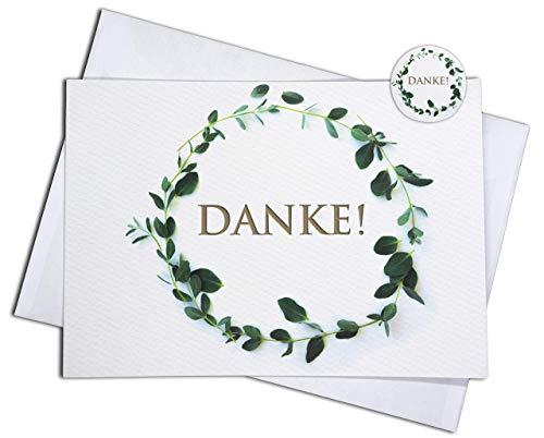 15 Dankeskarten & 15 Umschläge & 15 Sticker – Klappkarten SET