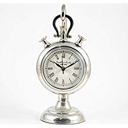 Hind Handicrafts Metal 4 Hanging Table Clock - Retro Non-Ticking Table Desk Mantle Clock Battery Operated with Sweep Quartz Movement Roman Numerals Decorative for Bedroom Living Room Kids Room