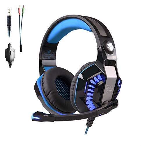 QCSMegy Auriculares For PS4 Headset Auricular For Juegos De PC Xbox One Auriculares con Micrófono Auriculares For Juegos De Ordenador (Color : Blue)