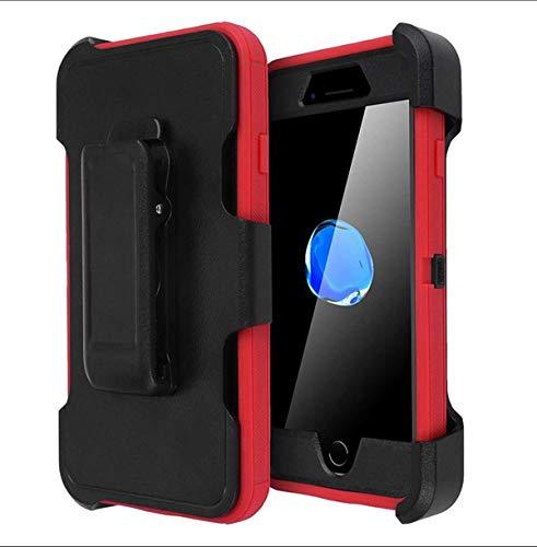 Funda iPhone SE 2020 Case Ultrafina Antigolpes Case Anti-Arañazos Carcasa 360 Anillo iman Soporte Hard PC y Silicona TPU Bumper con Protector de Pantalla Incorporado (iPhone SE, Negro + Rojo)