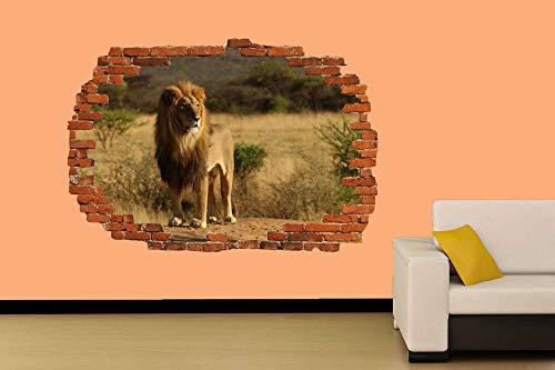 Caza de leones en fondo salvaje Etiqueta de la pared Decoración de la habitación Calcomanía Mural Clase A 60x90cm