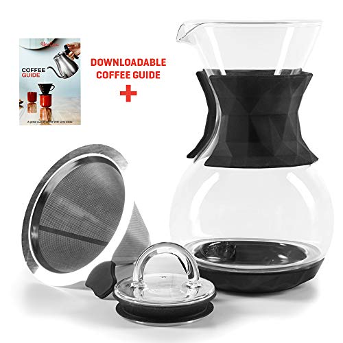 Uno Casa Pour Over Kaffeebereiter - 1 Liter / 4 Tassen Übergieß Kaffeebrüher mit permanentem Edelstahl Kaffeefilter