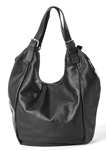 Italienischer XXL Nappa Leder Taschen Damen Handtasche Shopper Beuteltasche Frauen Handtaschen groß schwarz Handgefertigte Butterweiche Qualität, 35-50x40x20 cm (B x H x T)
