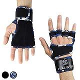 FULL GRIP Überarbeitete Fitness-Handschuhe mit stützender Handgelenkbandage Trainingshandschuhe für Crossfit und Kraftsport mit Einer Handinnenfläche aus Leder