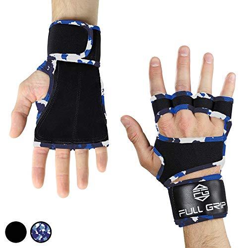 FULL GRIP Fitness-Handschuhe mit stützender Handgelenkbandage Trainingshandschuhe für Crossfit und Kraftsport mit Einer Handinnenfläche aus Leder (Carmo, S)