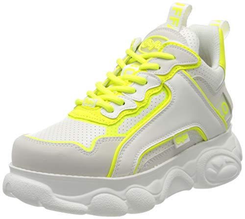 Buffalo Damen CHAI Hohe Sneaker, Mehrfarbig (White/Neon Yellow 000), 37 EU
