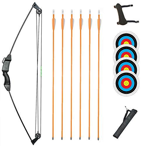 TOPARCHERY Junior Compound Bow Archery Bow and Arrow Set 8 Lb Archery Beginner Gift with Fiberglass Arrows for Teen Kids Children (Black-Type 1)