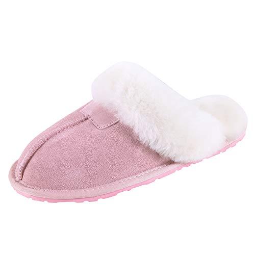 SLPR Women's Sheepskin Tahoe Slippers, Pink, 8 M US