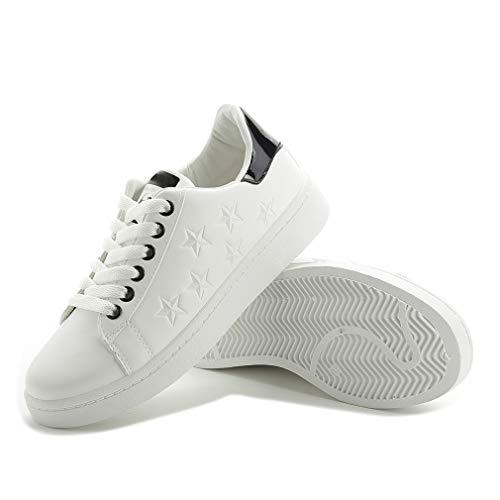 WggWy Zapatos Blancos con Cordones, Impermeables Informales Ligeros Y Ligeros para Mujer Zapatos Deportivos Informales con Equilibrio Femenino Zapatos Universales para Todos Los Estudiantes,Negro,37