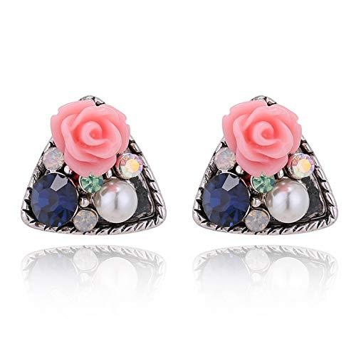 QYTSTORE Exquisito Vintage Triángulo Rhinestone Flower Imitating Pendientes de Perlas, Tamaño: 1.4 * 1.3 cm, Joyería de la declaración de Las Mujeres Exquisito, de Moda (Color : Pink)