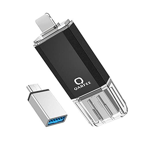 Qarfee Memoria USB 32GB 4 in 1 Chiavetta USB Flash Drive Compatibile Con Phone iOS e PC Laptop, USB 3.0 Pen Drive Compatibile Con Dispositivi con iOS/Android/USB/Micro USB/Tipo C Porta (Nero)