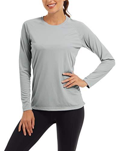 Sun Kleidung Damen Langarm UV-Schutz Shirt Schnelltrocknend Schwimmen Hemd Sommer UPF50 Shirt Laufen Dame Sonnenschutz Rashguard Outdoor Hemd Trekking T-Shirt UV Protection Swimming Shirt Grau