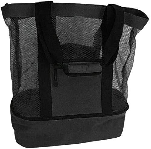 Bolsa de playa de malla para exteriores con compartimento más fresco, bolsa de picnic aislada desmontable con cremallera y bolsa de piscina con bolsillo para mujer (Negro)