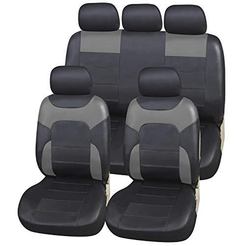 Upgrade4cars Auto-Sitzbezüge Schwarz Leder-Optik Universal Auto-Sitzschoner Set für die Vordersitze und Rückbank Kunstleder Auto-Schonbezüge