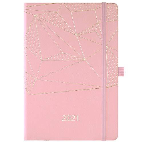 2021 Terminkalender - Wöchentlicher und monatlicher A5-Terminkalender, von Januar 2021 bis Dezember 2021, mit Stifthalter, Innentasche, gebändert, Premium-Hardcover, 14,6 * 21,4 cm, pink