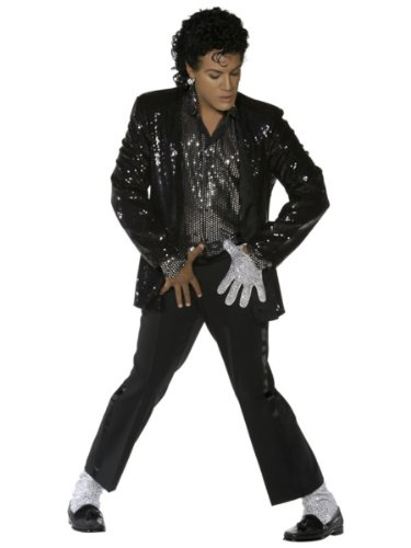 Smiffy's Michael Jackson Billie Jean Costume. A very popular, mid-priced outfit which includes a black sequin jacket, sequin shirt, a sequin glove and sequin socks.