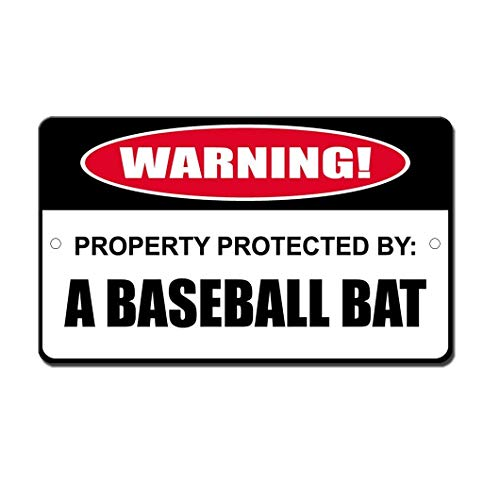 Protected by Baseball Bat Novelty Funny Sign Aluminum Metal Signs Tin Plaque 12' X 18'