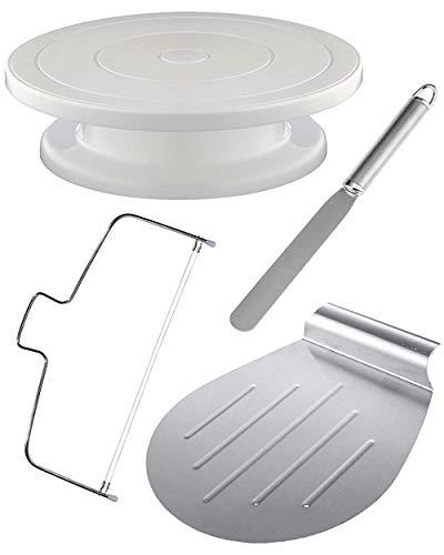 4Tlg Tortenplatte Drehbar Set inkl. Tortenheber, Streichpalette und Tortenschneider | Edelstahl - Spülmaschinenfest