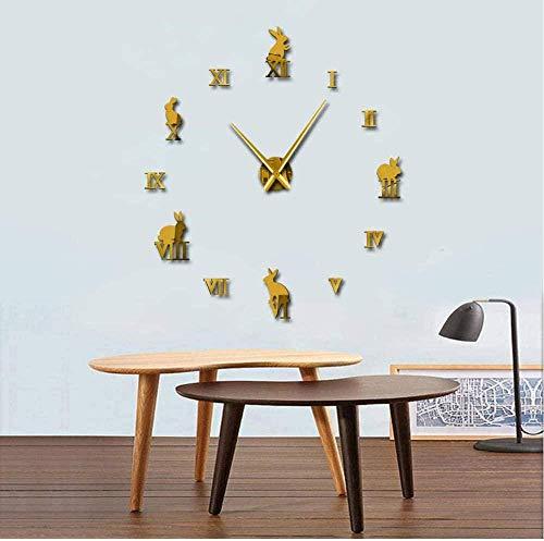Black Butterfly Elf Mirror Sticker DIY Silent Living Room Wall Clock Home Decor Electronic Digital Clock Wall Clock Diameter 15Cm Black Golden