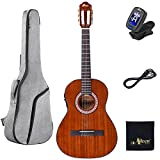 WINZZ 36 Inches 3/4 Size Nylon-string Classical Electric Acoustic Guitar for Beginners Students Kids Build-in Pickup Kit Set