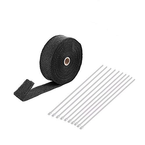 2000℉Hitzeschutzband für Motorrad, 15M Auspuffband Krümmerband Thermoband Hitzeschutz, mit 10 Stück Rostfreier Stahl Kabelbinder für Fächerkrümmer & Auspuffanlagen
