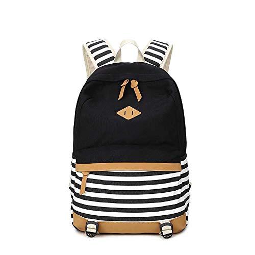 Damen Mode Schulrucksack Mädchen Teenager Streifen Schultasche Segeltuch Kawaii Druck Rucksack mit 15.6 Zoll Laptopfach
