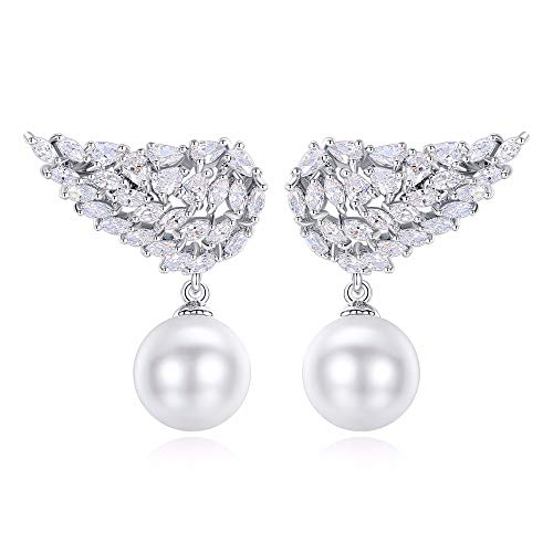 AdronQ Fashion Vivid Wing Stud Earrings With White Created Pearl-Drop For Women Cubic Zirconia Earrings Gift