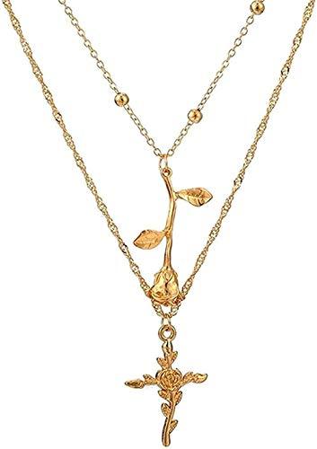 Yiffshunl Collar Collar Multicapa Collar Bohemio Fe Religiosa Flor Gargantilla Collar Color Dorado 3D Rosa Cruz Colgante Collar para Mujer Joyería