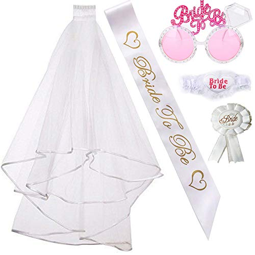 Bachelorette Party Bride to Be Kit-1 White Double Ribbon Edge Center...