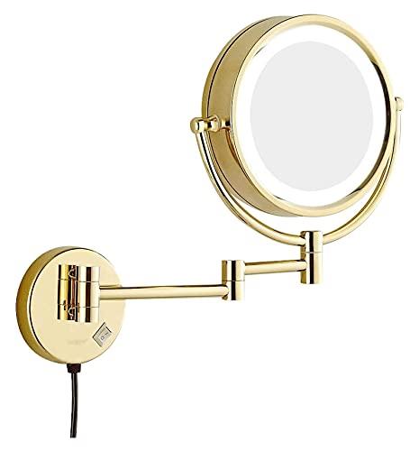 Espejo de maquillaje montado en la pared, telescópico plegable de doble cara, espejo de tocador con luces LED para baño, hotel, recargable (color: dorado, tamaño: 7x)