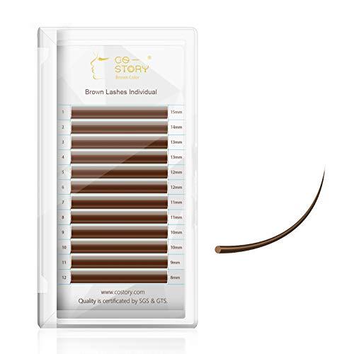 Costory Extensiones de Pestañas Marrón Pelo a Pelo Pestañas Postizas Individuales Profesional Natural Suave Brown Eyelash Extensions Clásico(Grosor 0.15 Curva C Longitud 8-15mm Mixta)
