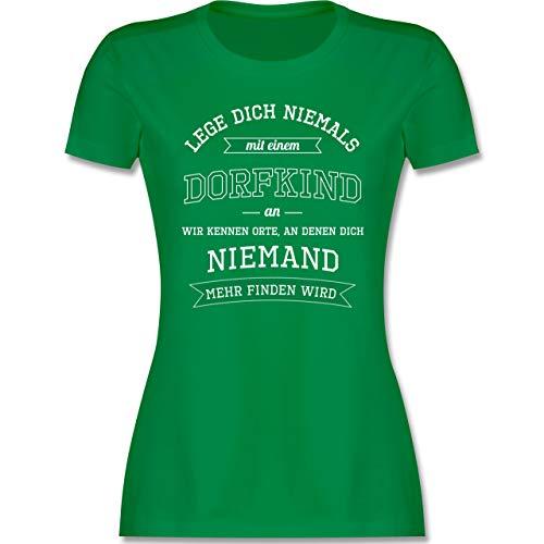 Sprüche - Lege Dich Niemals mit einem Dorfkind an - M - Grün - Coole t Shirts in XXL - L191 - Tailliertes Tshirt für Damen und Frauen T-Shirt